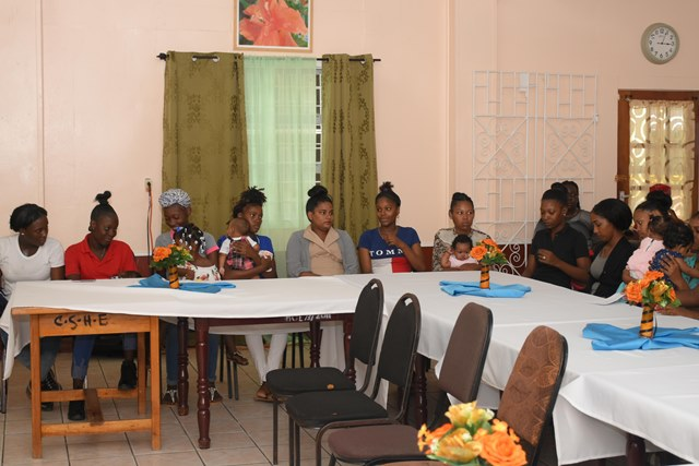 Some of the teen moms and pregnant teens participating in the training.
