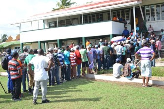 Retrenched Enmore Estate workers anxiously awaiting their severance payments.
