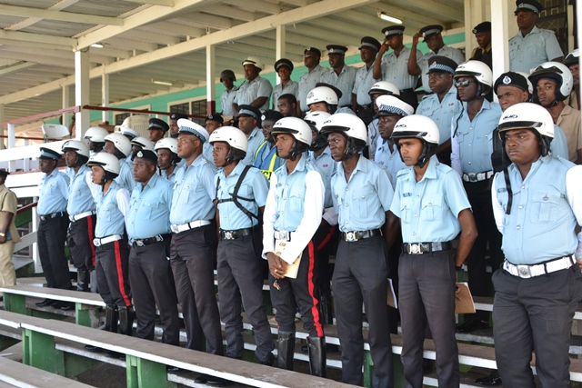 Drivers of the Guyana Police Force's vehicles at Eve Leary Ground.