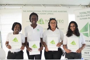 [In the photo, from left to right] Coleen Moore, Muarisia James, Rubena Adiana and Kristina Balram are among the first batch to graduate from the TOTALTEC Academy oilfield safety and operators training programme.