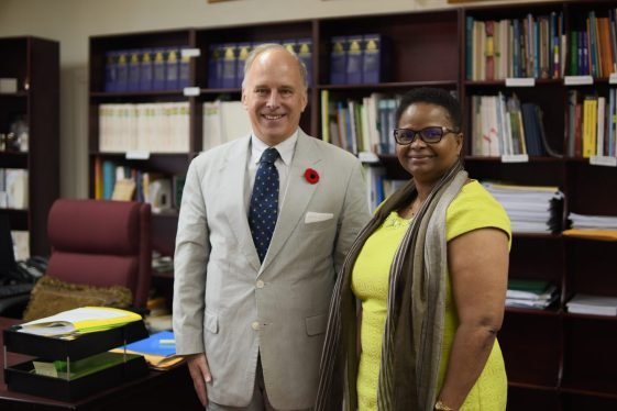 Sovereign Military Hospitaller Order of Malta's Ambassador to Guyana, His Excellency Roland Donin de Rosière (left) and Hon. Volda Lawrence, Minister of Public Health