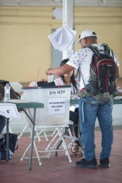 Voting at police headquarters, Eve Leary today.