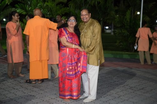 Prime Minister, Moses Nagamootoo and his wife, Sita Nagamootoo at the State House Diwali celebrations.