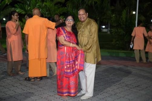 Prime Minister, Moses Nagamootoo and his wife, Sita Nagamootoo at the State House Diwali celebrations.