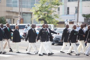 More of the surviving veterans of World War II marching during the parade.