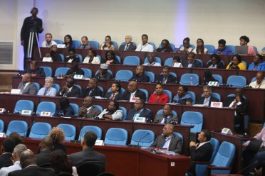 Participants of the 2018 meeting of the International Civil Aviation Organisation (ICAO) at the Arthur Chung Conference Centre.