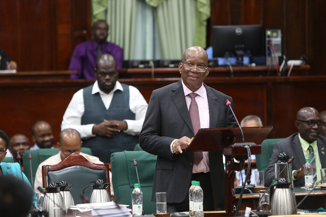 Minister of Finance, Winston Jordan presenting the 2019 National Budget in the National Assembly.
