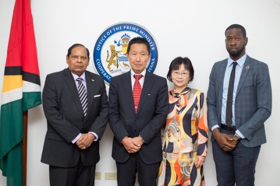 from Left – Prime Minister Moses Nagamootoo, Japanese Ambassador, Mitsuhiko Okada, his wife; Mrs. Mari Okada and a representative from the Ministry of Foreign Affairs.