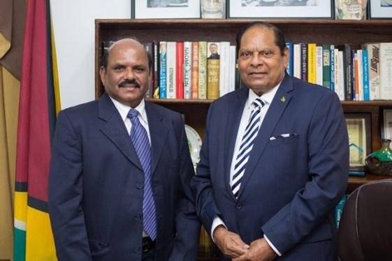 Prime Minister Moses Nagamootoo and GEM Director Mr Gunasekaran Raju.