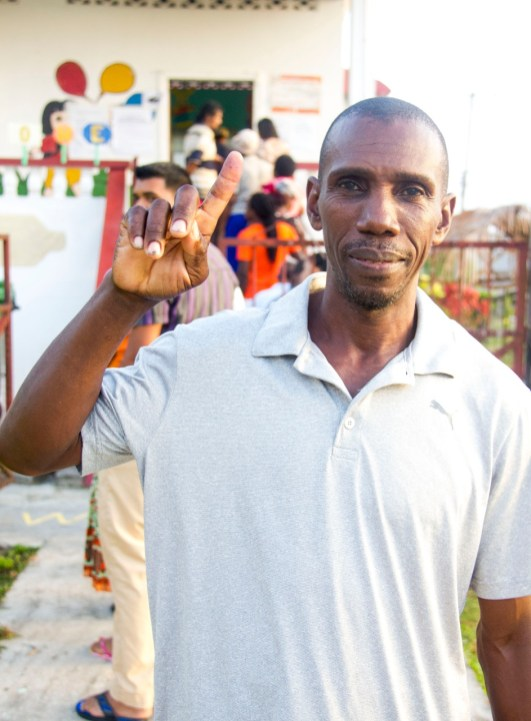 Lindon Jones Bartica – Linden Jones first to vote at Bartica East; Central Constituency Three