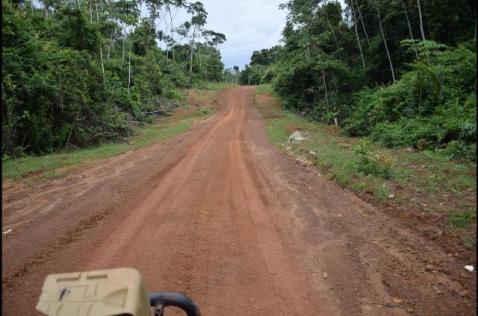 Part of the completed roadway along the Matthews Ridge to Baramita route.