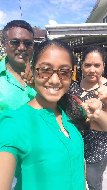 Shivanie Samlalls, from Parika, along with her parents made it a family affair and voted like true bosses at the LGE 2018.