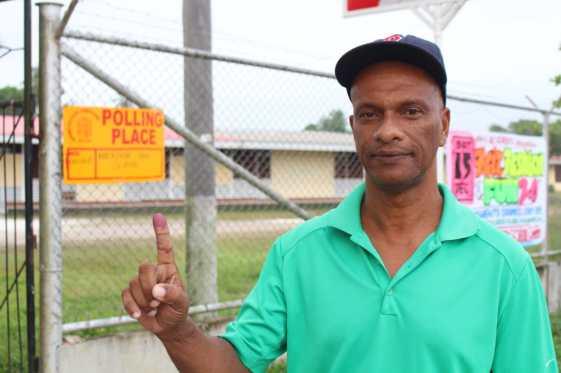 APNU candidate and first voter at Mackenzie High School, Stephen Messiah