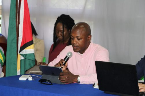 Chief Transport Planning Officer, Ministry of Public Infrastructure, Patrick Thompson while making a presentation at the meeting