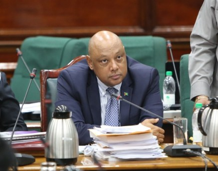 Minister Natural Resources, Raphael Trotman during today's sitting.