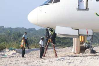 The Fly Jamaica aircraft which requested emergency landing at the Cheddi Jagan International Airport (CJIA) this morning