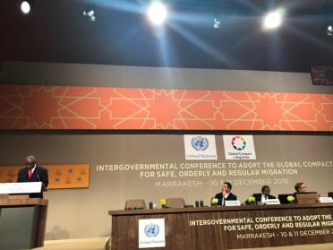 Minister of Citizenship, Mr. Winston Felix at the Inter-governmental Conference in Marrakesh, Morocco.