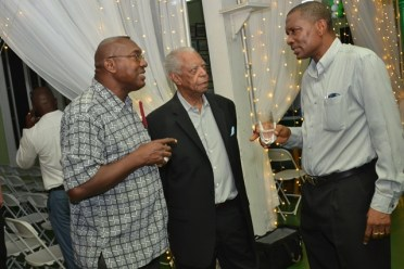 [from left to right] Former Cricketer Mark Harper, former West Indian cricketers Lancelot Gibbs and all-rounder Roger Harper.