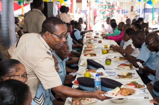 Senior ranks serving the junior ranks at 'A' Division's second annual Christmas luncheon and award ceremony