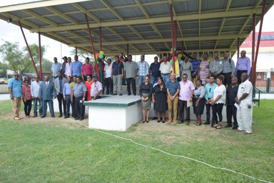 Communities Minister Ronald Bulkan and the newly-sworn in NDC councilors for Region 6