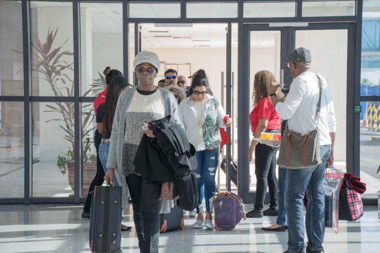 Passenger arriving