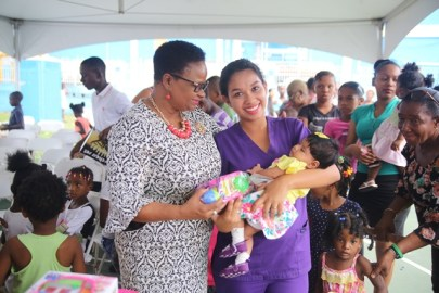 Scenes from the ministry's gift distribution exercise.