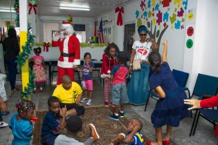 The children having fun during the Christmas party