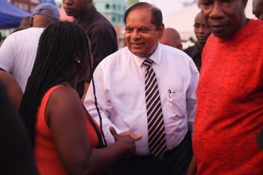 Prime Minister, Moses Nagamootoo meeting citizens.