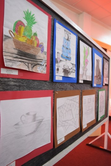 Art pieces in the Deaf Art Competition on displayat the National Library.