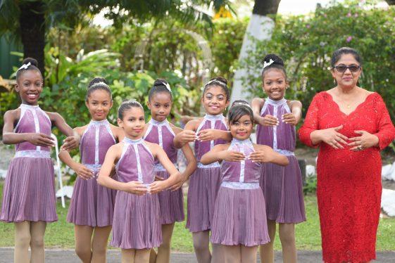 Mrs. Sita Nagamootoo poses with some ballerinas