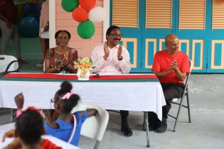 (From Left to right…Administrator of Ptolemy Reid Rehabilitation Centre, Cynthia Massey, Attorney General, Basil Williams and Technical Staff, Sir. Mangru