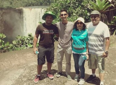The Sookraj family at Kaieteur Falls