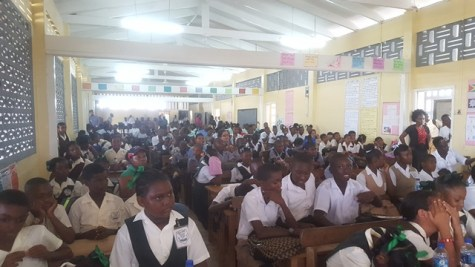 A section of the gathering at Belladrum secondary school.