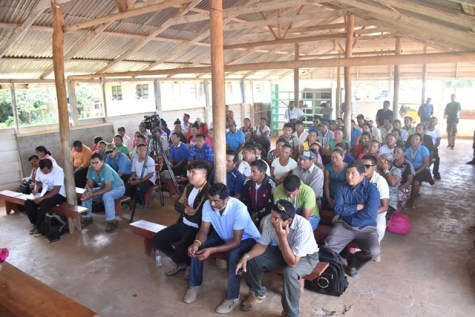 Residents gathered at the meeting in Yupukuri.