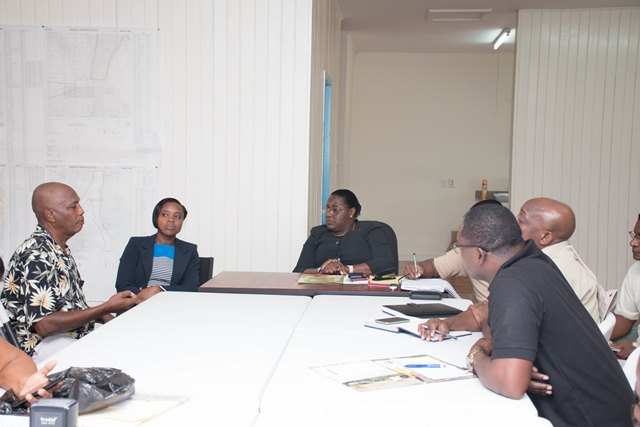 Minister within the Ministry of Natural Resources, Simona Broomes meets with miners in Bartica, Region 7.