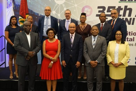 Minister of Public Telecommunications, Catherine Hughes, Outgoing Chairman of CANTO, Julian Wilkins, General Secretary of CANTO, Teresa Wankin, Suriname's Minister of Public Works, Transportation and Communication, Patrick Pengel and the Guyana Telephone and Telegraph Company (GTT) Chief Executive Officer, Justin Nedd at the official of the CANTO 35th Annual General Meeting (AGM) at the Guyana Marriott Hotel.
