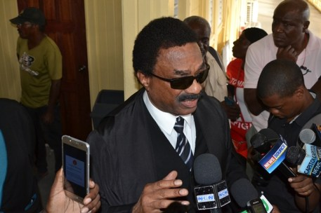 Attorney General and Minister of Legal Affairs, Basil Williams SC., speaking to the media after the ruling.