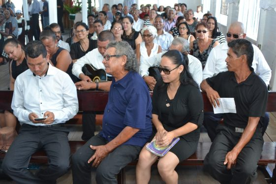 Family members and friends gathered at the funeral service
