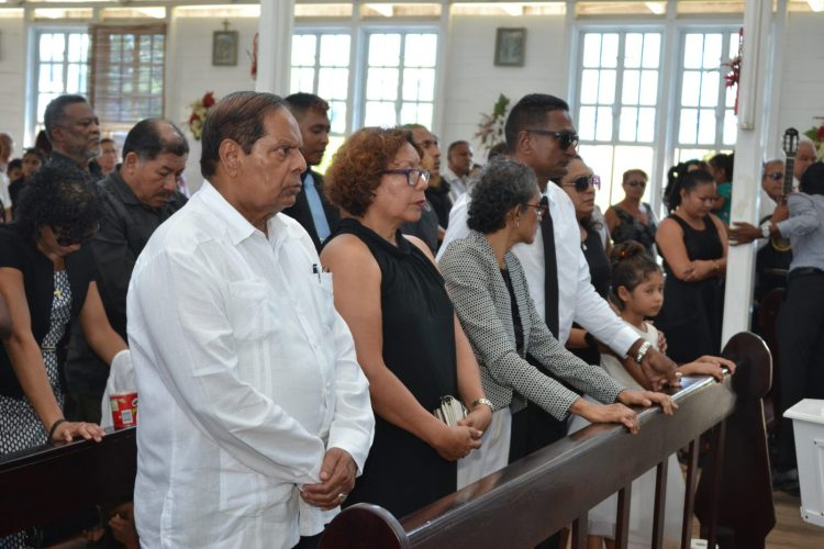 Prime Minister, Moses Nagamootoo, Minister of Indigenous Peoples' Affairs, Sydney Allicock and Minister within the Ministry of Indigenous Peoples' Affairs, Valerie Garrido-Lowe at the funeral service