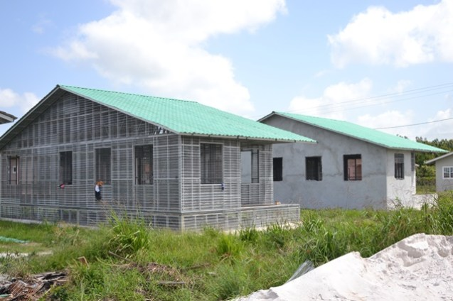 One of the two-bedroom houses under construction.