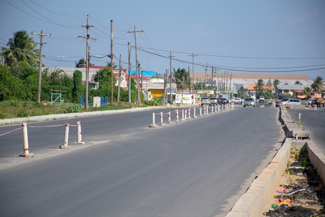 Completed section of the East Coast Demerara road.