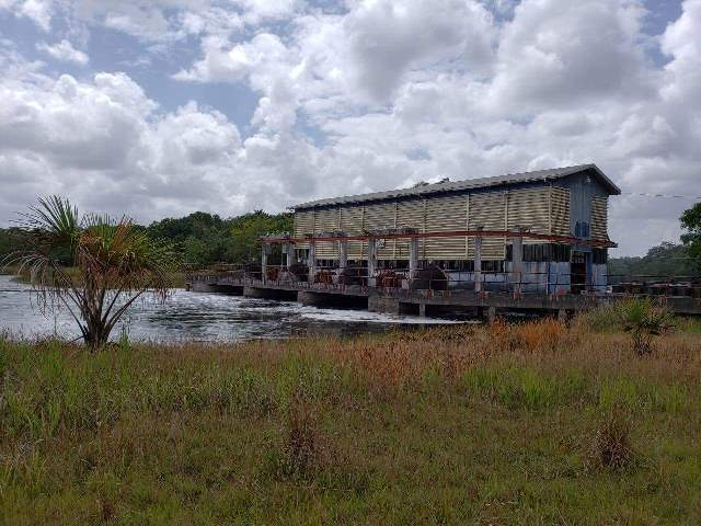 The Dawa Pump Station pumping water from the Pomeroon River into the Tapakuma Lake.