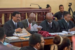 Attorney General and Minister of Legal Affairs, Basil Williams SC., along with Senior Council Neil Boston, Senior Counsel Stanley Moore and Robert Corbin during the court hearing in the High Court.