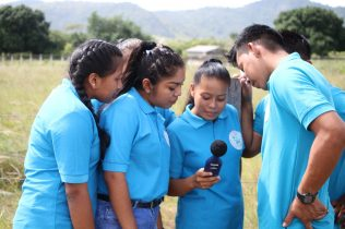 Students from the Bina Hill Institute participating in a practical exercise checking the level of sounds