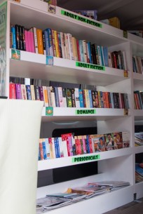 Some of the 3000 books onboard the Bookmobile.