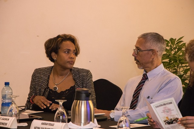 Programme Consultant, Dr. Alison Gajadhar and Minister of Business, Dominic Gaskin in discussion.