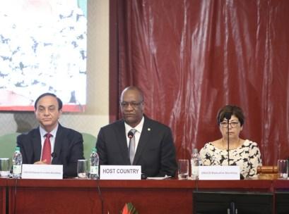 [In the photo, right] Executive Secretary of the UNCCD Monique Barbut [centre] Minister of State, Joseph Harmon and [left] Deputy Executive Secretary, UNCCD, Pradeep Monga.