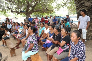 Residents of Karasabai, South Pakaraima, Region Nine gathered at the community meeting.