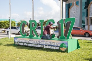 Minister of State Joseph Harmon alongside Commissioner of Lands and Survey Commission Trevor Benn checking on the state -of-readiness of the Arthur Chung Convention Centre to host CRIC 17 forum.