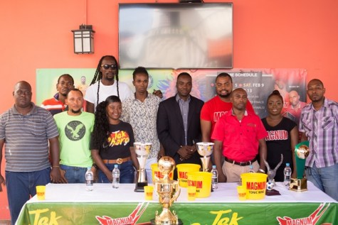 (Back row: fourth from right) Legacy Entertainment spokesperson Esan Griffith and (third from right) Magnum Brand Coordinator Edison Jefford and Magnum girls with representatives of the various teams.
